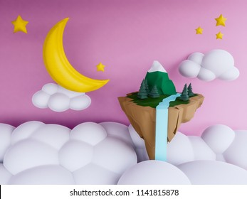 pastel floating island with night background.3d render