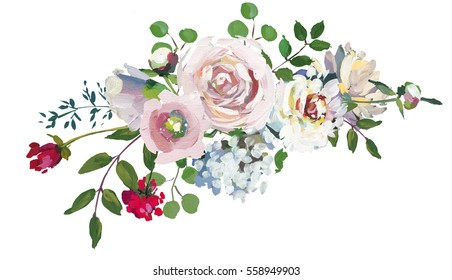 Pastel floral drop bouquet hand painted acrylic mint magenta pink wedding flowers on white background.