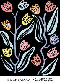 Pastel Floral Tulip Panel Illustration