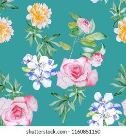 Pastel Flowers watercolor illustration pattern