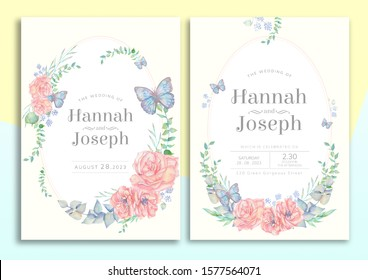 pastel garden flowers watercolor wedding invitation card with text layout