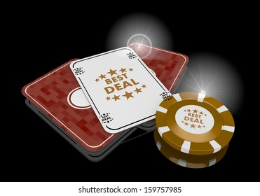 Pastel gray  exclusive casino 3d graphic with glaring best deal icon  on poker cards