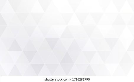 Pastel grey white triangle mosaic pattern. Poligon geometric background.