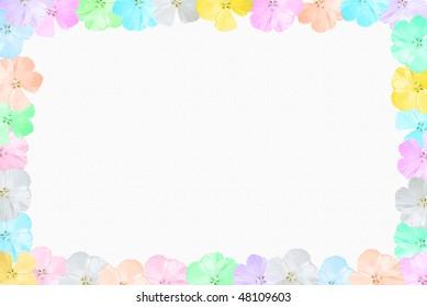 pastel hibiscus border on textured background