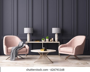 Pastel interior in classic style with soft armchairs and lamps. 3d rendering