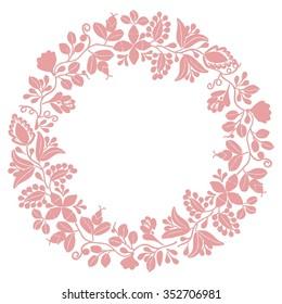 Pastel laurel wreath decorative frame on white background