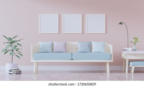 Pastel Living Room, Modern vintage interior of living room, Armchair with pink cushion - 3D Rendering