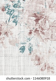 Pastel natural colored floral  pattern watercolor effect. Textile print for bed linen, t-shirt, package design, fabric and fashion concepts.