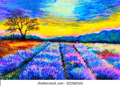 Pastel Painting - Lavender Field at Provence, France