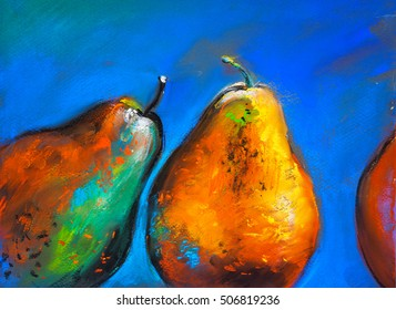 Pastel painting on a cardboard. Pears-fruits on a blue background. Modern art