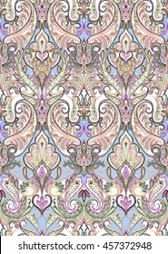 Pastel paisley pattern. Seamless ornamental background. Indian motif. Ethnic print for wrapping, wallpaper, fabric, textile