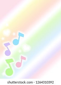Pastel patterned music notes, hearts and stars side border on a pastel gradient background.