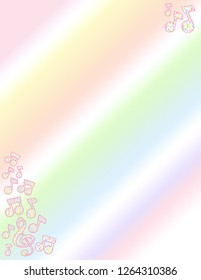 Pastel patterned treble clef and music note side border on a pastel gradient background