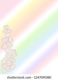 Pastel patterned valentine heart side border on a pastel gradient background