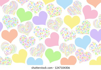 Pastel patterned valentine hearts on a white background