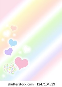 Pastel patterned valentine hearts and stars side border on a pastel gradient background.