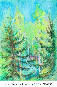 pastel picture, summer landscape with pond surrounded be high trees