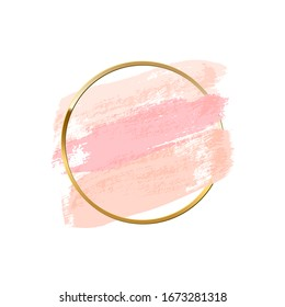 Pastel pink brush strokes with golden ring isolated on white background. Raster copy