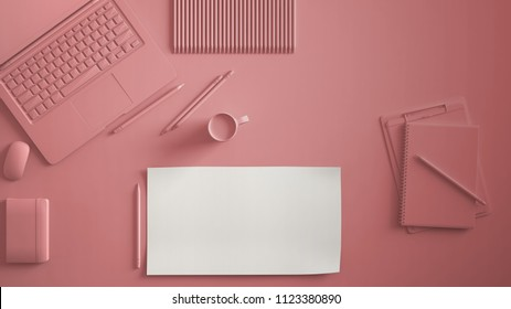 Pastel pink monochrome minimal office table desk. Workspace with laptop, notebook, pencils and coffee cup. Flat lay, top view, blank paper mockup template, 3d illustration