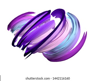 Pastel pink purple and blue abstract spiral waves. 3d render colorful waves and lines illustration.