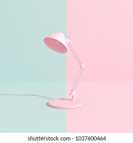 Pastel pink table lamp.minimal concept