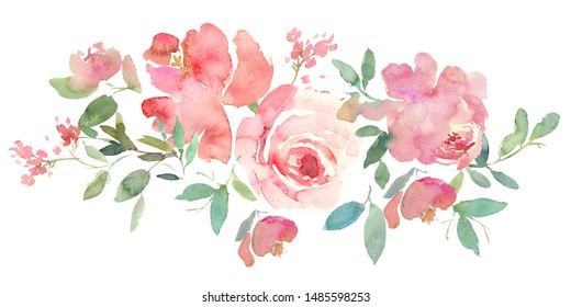 Pastel Pink Watercolor Floral Arrangement isolated on White Background
