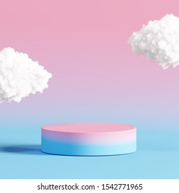 Pastel podium with cloud on pastel colors background. 3d rendering