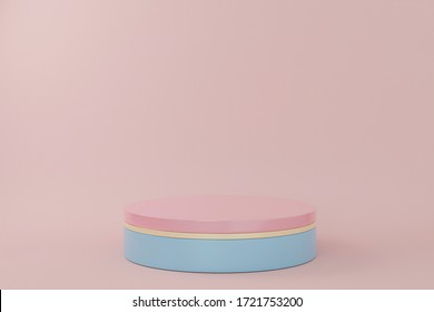 Pastel podiums on pink background. Abstract minimal scene with geometrical. Scene to show cosmetic products presentation. Mock up design empty space. Showcase, shopfront, display case,3d render
