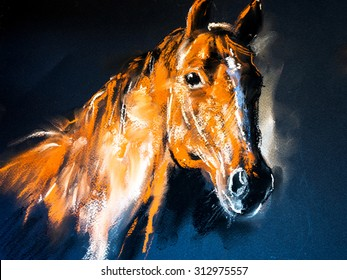 Pastel portrait of a brown horse on a cardboard. Modern art