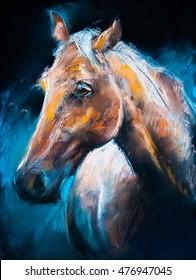 Pastel portrait of a brown horse on a cardboard. Modern art
