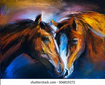 Pastel portrait of a couple horses on a cardboard. Modern art