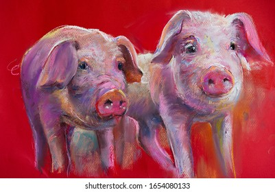 pastel portrait painting.Two pigs. Modern art.
