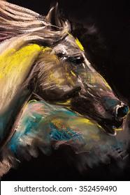 Pastel portrait of a white horse on a cardboard. Modern art