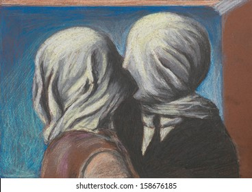 pastel reproduction after the famous painting Lovers kiss by Magritte
