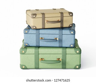 pastel suitcase isolated on a white background