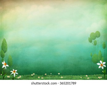 Pastel textured background with flowers and green grass