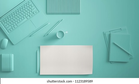 Pastel turquoise monochrome minimal office table desk. Workspace with laptop, notebook, pencils and coffee cup. Flat lay, top view, blank paper mockup template, 3d illustration