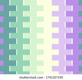 Pastel violet green yellow colors in abstract geometric pattern colorful scheme. Zig zag square zip lines in fresh light spring color combination, fashion lilac mint turquoise trend. For backgrounds.
