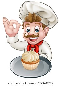 A pastry chef or baker cartoon character holding a plate with a cupcake or fairy cake on it