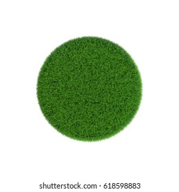 Patch of grass in form of circle. Isolated on white background.3D rendering illustration.