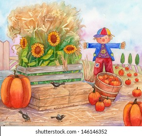 Patch Time - Watercolor Illustration of a pumpkin patch, with scarecrow, birds, pumpkins and sunflowers.