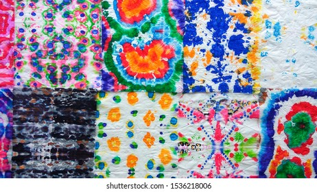 Patchwork abstract background, made of multi-colored patterns. Monochrome texture background. Vibrant dirty drawing. Modern watercolour banner template. Dirty art with tie dye pattern.