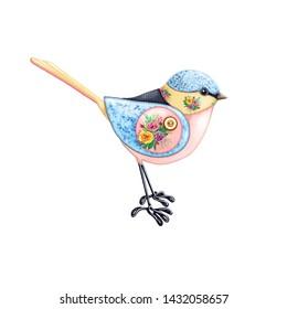 Patchwork bird in floral fabrics