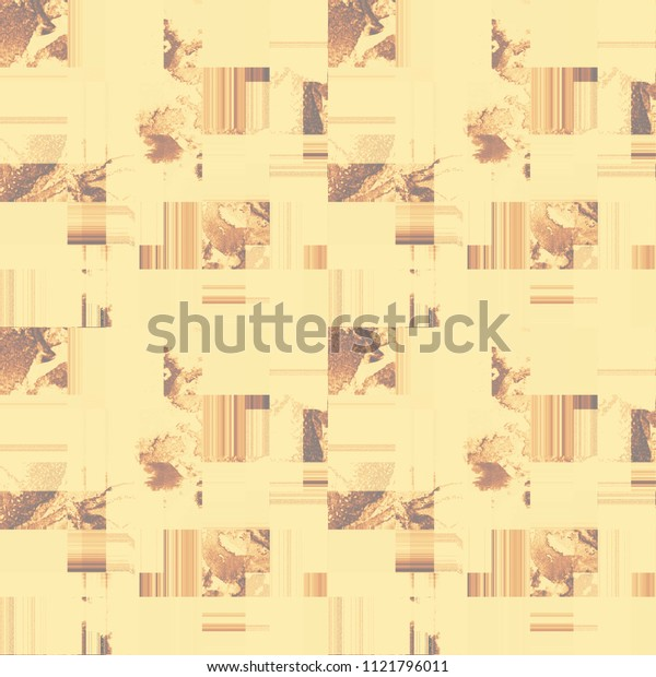 Patchwork pattern. Blocks filled randomly with different designs. Watercolor marble textured tiles alternating with solid colored and striped ones. Fabric Textile Wallpaper Wrapping
