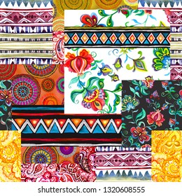 Patchwork pattern, multicultural design. Seamless background with mix of different ornaments. Hand painted watercolor