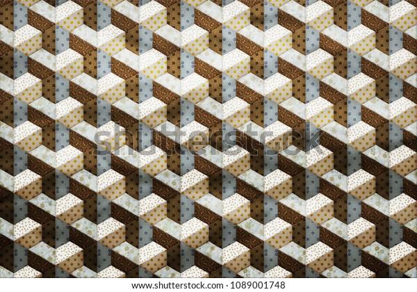 Patchwork Texture Tiles Background Design Effect Stock
