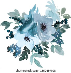 Patel Blue Watercolor Floral Bouquets With Doodles Isolated on White Background