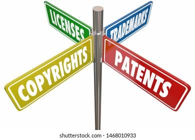 Patents Copyrights Trademarks Licenses Signs 3d Illustration