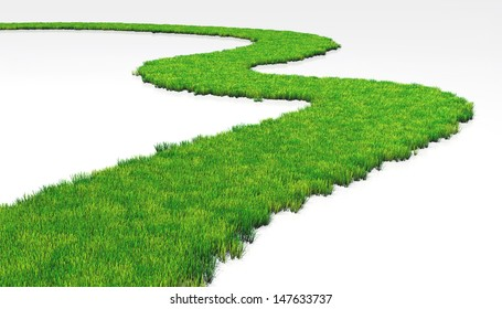 a path made of lawn that grows in a white ground, winds in a white background