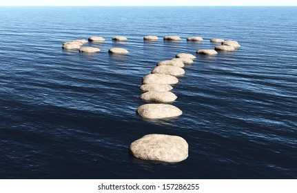 a path in the shape of question mark made of stones above the surface of deep water, in a sunny day.